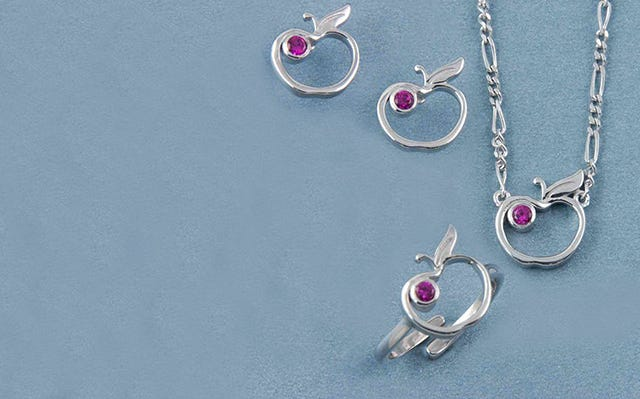 An Apple A Day Jewellery Set for Kids in Silver