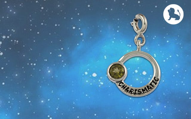 charismatic leo zodiac charm in peridot