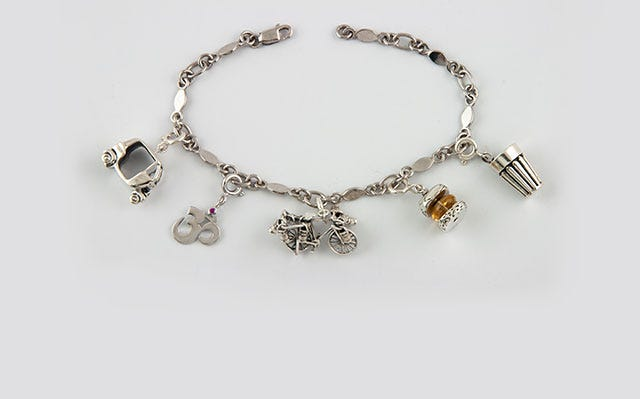 Indian masala charm bracelet in silver