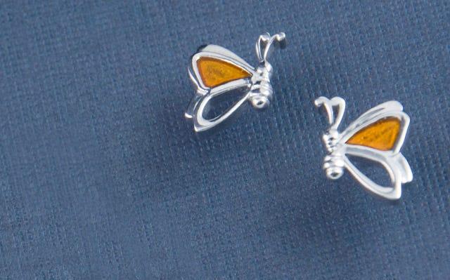 Flutterby butterfly stud earrings for kids in silver
