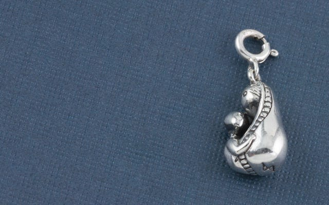 Mother and child charm in silver