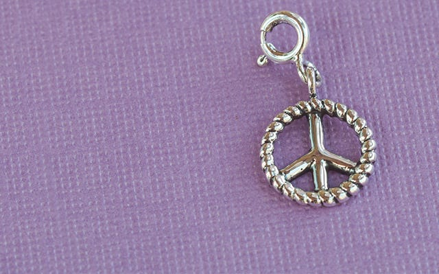 Silver Message of Peace charm