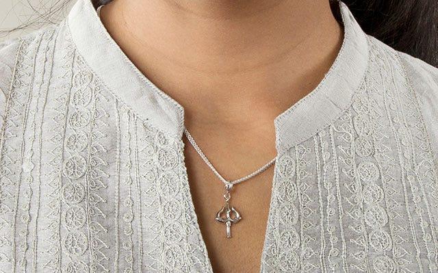 Shiva Inspired Shakti Trishul Charm with silver chain
