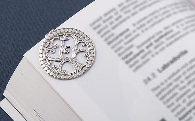 Tree of life bookmark in silver