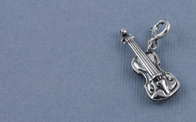 Symphony of strings violin charm in silver