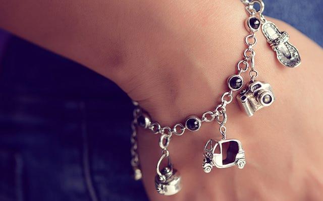 Wanderlust charm bracelet in silver