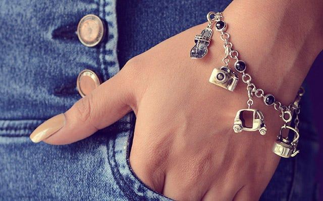Charm Bracelets - Silver Wanderlust Charm bracelet for women