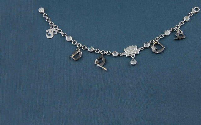 silver yoga serenity charm bracelet