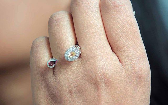 Abha Ring in Golden Topaz and Garnet
