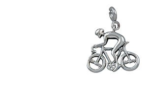 Ride like the wind biker charm in silver