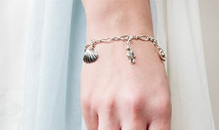By the sea charm bracelet in silver