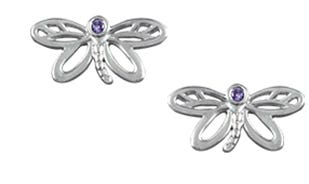 Dreamy Dragonfly Studs in Silver