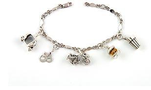 Indian masala charm bracelet in silver