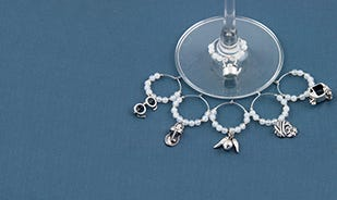 Indian masala charms set in white onyx