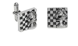 Knight's move cufflinks in silver for men