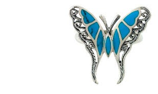 Sterling Shells Filigree Butterfly Ring in Sky Blue
