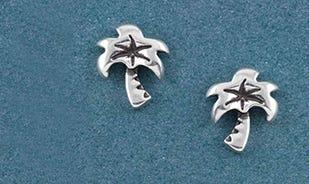 Beach bum palm tree stud earrings for women