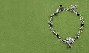 Black Spinel Lotus Charm Bracelet in Silver