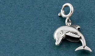 Diving in the distance dolphin charm in silver