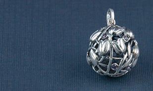 Les fleurs tulips jaali sphere pendant in silver