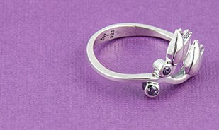 Les Fleurs Tulips Ring in Silver