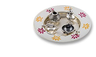Lotus petal miniature thali with charms in silver