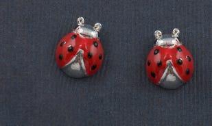 Lucky ladybug stud earrings for girls