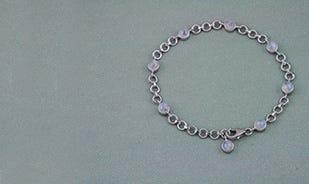 Silver Rainbow Moonstone Charm Bracelet