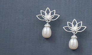 Sattva Lotus Pearl Drop Silver Earrings in Silver