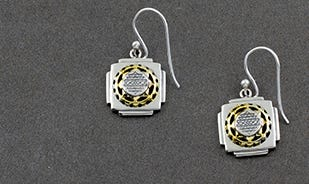 Gold-plated silver shri yantra dangler earrings for women