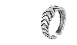 Boomerang band ring - adjustable in silver