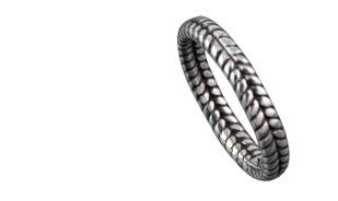 Chevron band ring in silver