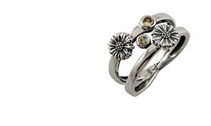 Les Fleurs Twin Daisy Ring
