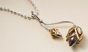 Lotus bud pendant for women