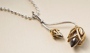 Lotus bud pendant for women