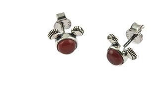 Mickey Mouse Stud Earrings in Red Onyx