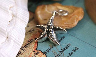 Wonder of the sea starfish charm in silver