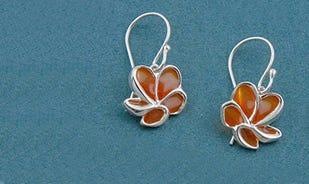 Les fleurs plumeria dangler earrings for girls