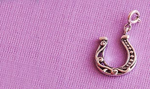 Good luck horseshoe charm in silver