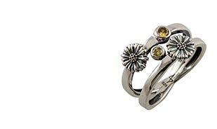 Les fleurs twin daisy ring in silver for women