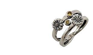 Les fleurs twin daisy ring in silver for women
