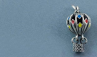 Life's an adventure hot air balloon charm in silver
