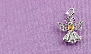 Protect my heart angel charm in silver
