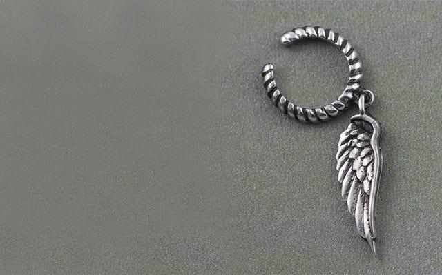 Angel Wing Ear Cuff in Silver