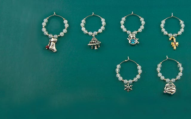 Christmas Wine Charms in White Onyx