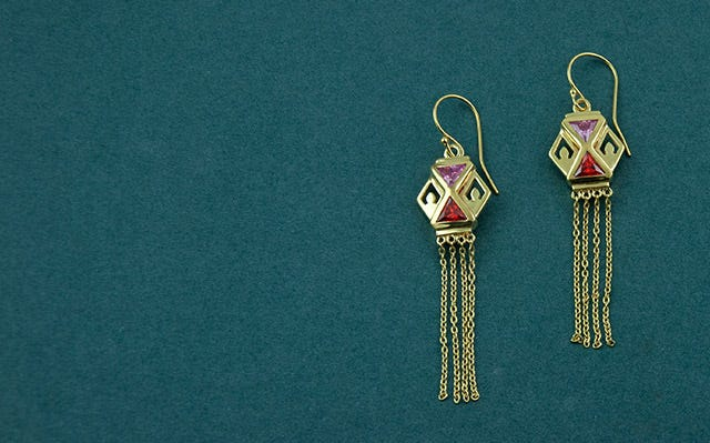 Gold-Plated Silver Colourful Kandeel Earrings in Pink and Deep Orange for Women