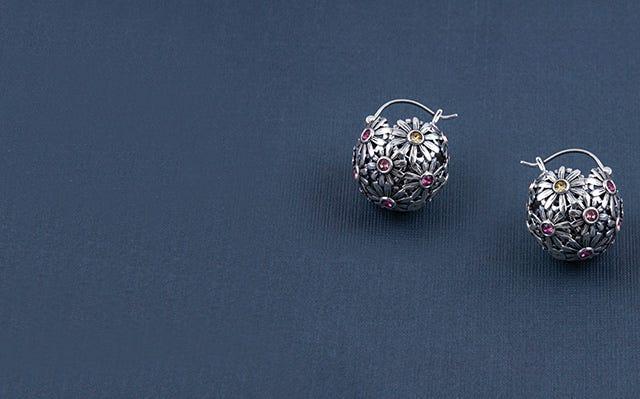 Les Fleurs Daisy Baali Earrings With Swarovski Crystals for Women