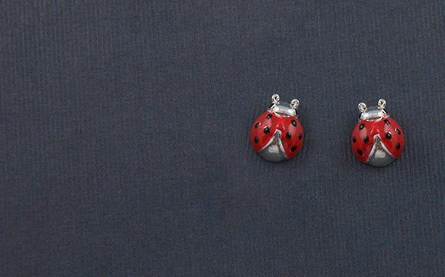 Lucky Ladybug Stud Earrings in Silver
