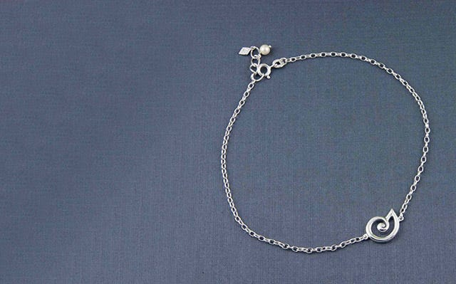 Spiral Seashell anklet in silver