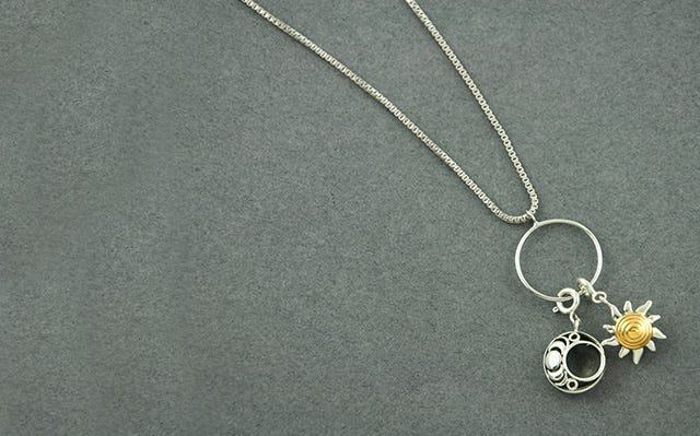 Sun and Moon Charm Necklace for women